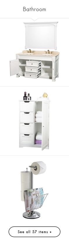 """""""Bathroom"""" by taught-to-fly19 on Polyvore featuring home, home improvement, plumbing, furniture, storage & shelves, cabinets, bathroom, home wood furniture, white wood storage cabinet e wood storage cabinets"""