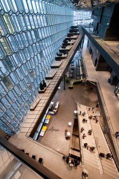 Iceland - Reykjavik - Harpa Interior - The atrium #iceland #europe #reykjavik #teamiceland Architecture Design, Stairs Architecture, Cultural Architecture, Public Architecture, Concert Hall Architecture, Residence Senior, Atrium Design, Casa Hotel, Library Design