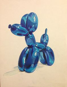 balloon animal marker drawing by Pony Lawson.  Prismacolor Colored Pencils and Copic Markers