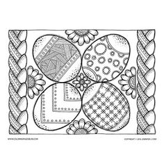 Easter Eggs coloring page for adults. Lots of fun details to color in this downloadable coloring page. Have fun expressing your creative side this spring with this coloring page.
