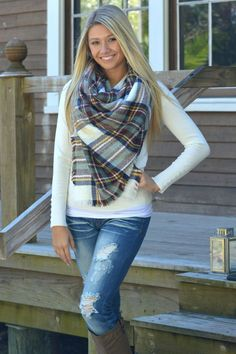 """Oversized Blanket Scarf. Callie paired our Blanket Scarf with a navy """"Happy Hour"""" top, Machine Jeans, and """"Walk the line"""" boots. 100% Acrylic"""