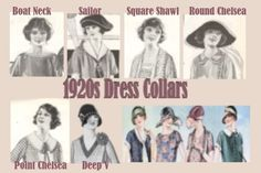Collars found on 1920s dresses - One of the defining characteristics of 1920s dresses from other decades are the necklines. Boat, V,  Square, shawl, and chelsea collars were the most common styles of day dresses.