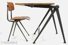 Wim Rietveld Drawing Table: Austere but awesome vintage desk by the Dutch company Ahrend de Cirkel.  Designed in 1959, the desk can pivot at two points to serve as a drafting table.