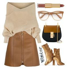 """""""Nude sweater"""" by szemesicsenge ❤ liked on Polyvore featuring WithChic, Gianvito Rossi, Chloé, Wildfox, tarte, nude and sweaterweather"""