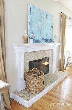 DIY Abstract Art -Using Soft Blue Tones to Create A Coastal Feel & Focal Point Above Mantle {City Farmhouse}