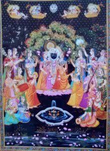 Krishna with Gopi painting by Rajendra Khanna | ArtZolo.com