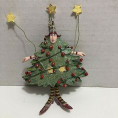 Patience Brewster Dept 56 Christmas Krinkles Ornament TREE WOMAN #Department56 Ornament Tree, Tree Woman, Department 56, Vintage Holiday, Patience, Christmas Ornaments, Holiday Decor, Ebay, Women