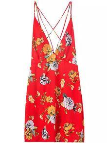 Deep V Neck Florals Crisscross Back Dress
