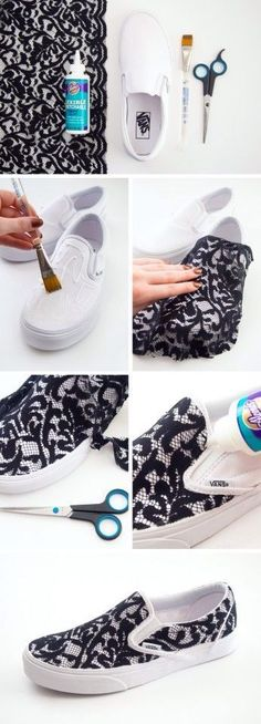 DIY Lace Shoe Makeover crafts craft ideas easy crafts diy ideas diy crafts diy clothes easy diy fun diy diy shoes craft clothes craft fashion fashion diy craft shoes teen crafts crafts for teens Diy Lace Sneakers, Diy Lace Shoes, Vans Sneakers, Sneakers Design, Vans Shoes, White Sneakers, Diy Lace Converse, Ways To Lace Shoes, Cheap Converse