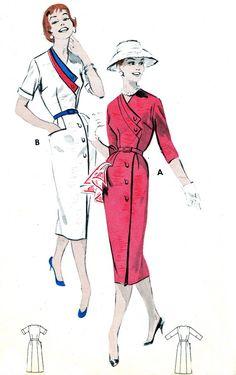 1950s Dress Pattern Butterick 8513 Womens Day Evening Sheath Dress Surplice Neck…