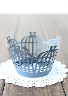 12 pcs Wedding / Party Lace Cupcake Wrappers - Bird Cage - Pink / Dark Blue on Etsy, $5.95