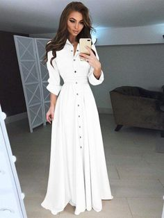 75e6f2f95f Button-up Waisted Long Dress Women s Slim-fit Dress