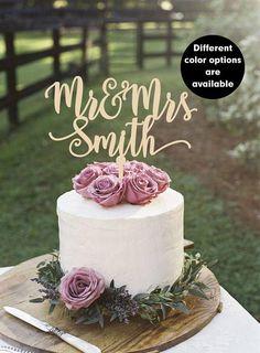Surname cake topper Custom Wedding Cake Topper Personalized #SilverGlitter