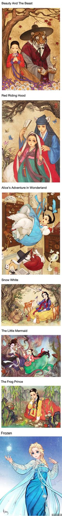 If the Disney Fairy Tales Happen In Korea. The anime nerd in me loves this.