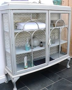 Vintage Painted Glass Display Cabinet - looks like French grey & old white