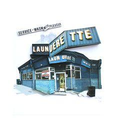 Launderette | Collage | Artwork | Buildings | Perspective | Shopfront | Building | Theatre Design | Dominic Mallin | Laura McEwen | 3D | WeWonder | Design | Model Making  | Montage