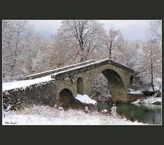 "Old Stone Bridge ""Ziakas"" by Nikos Zacharoulis Travel Around The World, Around The Worlds, Old Bridges, Old Stone, Private Garden, Covered Bridges, Macedonia, Winter Scenes, View Image"