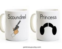 Star Wars His and Hers Coffee Mugs - Anniversary Wedding Gift for Couples - Han Solo and Princess Leia - Scoundrel and Princess - Tea Cups