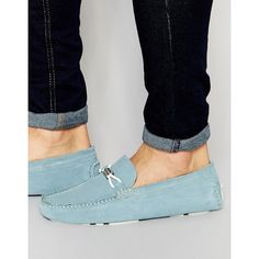 Ted Baker Carlsun Suede Loafers ($178) ❤ liked on Polyvore featuring men's fashion, men's shoes, men's loafers, blue, mens slipon shoes, mens suede shoes, ted baker mens shoes, mens slip on shoes and mens suede slip on shoes