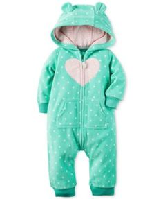 Carter's Baby Girls' Heart Dot-Print Hooded Coverall $7.99 Carter's makes cute and cozy ensembles a cinch with this cuddly fleece one-piece coverall, featuring a hood detail for extra snuggly warmth when it's chilly.