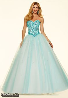 Prom dresses by Paparazzi Prom Crystal and Turquoise Stones on a Tulle Ball Gown Corset Back Closure. Colors Available: Aqua/Turquoise, Champagne/Turquoise