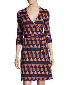 TB03G Julie Brown Triangle-Print 3/4-Sleeve Wrap Dress, Pink Fairisle