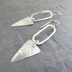 Bright Sterling Silver Skinny Hoop Spike Earrings by TheGemGypsy