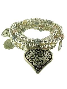 White Gold Plated Bead and Faux Pearl with Heart Charms Bracelet Set of 9 at Jennifer Miller