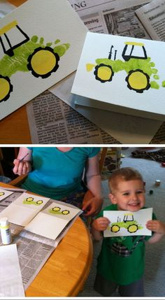 Footprint Tractor Card | Easy Fathers Day Cards for Kids to Make | DIY Birthday Gifts for Dad from Kids