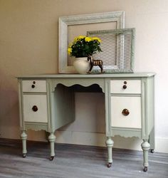 Robins Egg Superior Paint Co. chalk painted antique desk refinished by The Superior Paint Company retailer The Refinish Line in Grand Forks BC Grand Forks, Paint Companies, Antique Desk, Robins Egg, Chalk Paint, Entryway Tables, Vanity, Antiques, Furniture