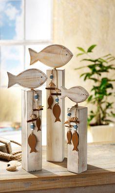 Dekorační ryby na dřevěném podstavci | VELKÝ KOŠÍK
