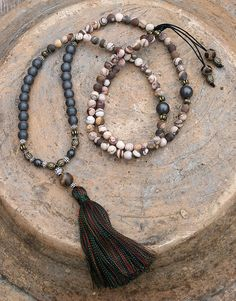 Mala necklace made of 6 mm - 0.236 inch beautiful frosted jasper and 8 mm - 0.315 inch hematite gemstones. Together they count as 108 beads. The
