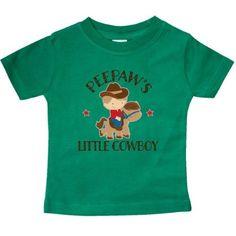 Inktastic Peepaw Grandpa's Little Cowboy Baby T-Shirt Peepaws Grandson Boys Childs Kids Cute Gift Pee Paw Grandpa Grandfather Grandparents T-shirt Infant Tees Shower Clothing Apparel Hws, Infant Boy's, Size: 24 Months, Green