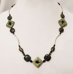 Jasper Jewelry, Kambaba Jasper, Rhyolite, Serpentine Jasper Handmade Reversible Necklace, Silver Noodle Necklace, Natural Healing Gems by DesignDimensions on Etsy