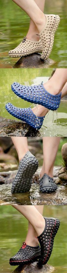 ed656495208d US 13.65 Men Soft Hollow Out Beach Sandals Outdoor Garden Casual Waterproof  Shoes Crocs