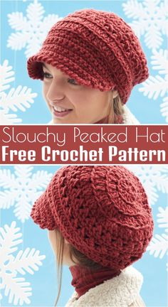 Free Crochet Hat Pattern & This stylish slouchy hat features a fun textured desi& Free Crochet Hat Pattern & This stylish slouchy hat features a fun textured design. Make it with Bernat Softee Chunky yarn. The post Free Crochet Hat Pattern Chunky Crochet Hat, Crochet Adult Hat, Bonnet Crochet, Crochet Slouchy Hat, Crochet Beanie Pattern, Crochet Cap, Knitted Hats, Crochet Patterns, Crochet Ideas