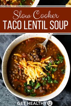 This Slow Cooker Taco Lentil Soup recipe is delicious, freezer-friendly, vegan, gluten-free, easy-to-make and packed with nutritious ingredients! It's packed with plant-based protein and its variety of spices make it super flavorful. It's the perfect meal Slow Cooker Tacos, Crock Pot Slow Cooker, Slow Cooker Recipes, Crockpot Recipes, Cooking Recipes, Slow Cooker Lentil Soup, Slow Cooking, Ww Recipes, Free Recipes