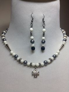 Gray Beaded Necklace and Earrings Set Handmade by DragonflyDenim