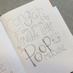Congrats on your lovable little poop machine. Hand lettered sketch for my latest new baby card