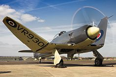 With wings folding VR930 displays her authentic802NAS 1948 scheme.[© Lee Howard]Sea Fury was the Fleet Air Arm's last piston-engined fighter to serve front-line Squadrons.Sea Fury first flew on 21 Feb 1945 & carried out deck landing trials in HMS Ocean in Oct that year.1st production (Mk.F.10) flew on 15 Aug 1946 & 1st Sqdn,807,re-equipped with F.10s at Culdrose in late 1947. 1st Sqdrn to fly FB.11,802, re-formed May 1948.50 Sea Fury F.10s built,followed by 615 FB.11s,last in November 1952.