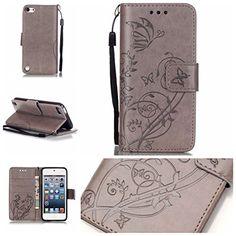 Jepson Apple iPod touch 6 / touch 5 (4 pouces) coque , PU Cuir Portefeuille Etui Housse Case Cover , carte de crédit Fentes pour ,…