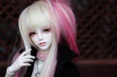 pink hair bjd art doll