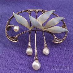 Art Nouveau Enamel, Seed Pearl and Diamond Brooch