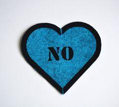 No Heart Feminist Punk Patch Sew On Patch Stencil by juliasugden, $2.50