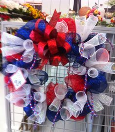 Red white and blue mesh wreath 2014 kristy@michels