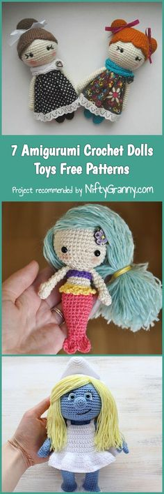 7 Amigurumi Crochet Dolls Toys Free Patterns #diy #diyproject #howto #crochet #crochetaddict #crochetdoll #freepattern #freecrochetpatterns #freecrochet #handmade #yarn #hook #colours #colorful #color #amigurumi #amigurumidoll #amigurumipattern #kids #toys #dolls #mermaid #smurfs