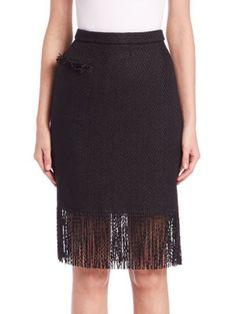 ADAM LIPPES Fringe-Trim Pencil Skirt. #adamlippes #cloth #skirt
