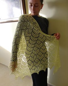 Ash Leaf Shawl Double Spined Half-Hexagon shl160 by AlpachHandMade