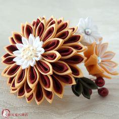 かんざし(KANZASHI)|つまみ細工「晴陽花」 赤×オレンジ(コームタイプの髪飾り)