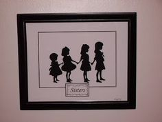 Hand cut Silhouette Scherenschnitte papercutting of 4 (four) SISTERS